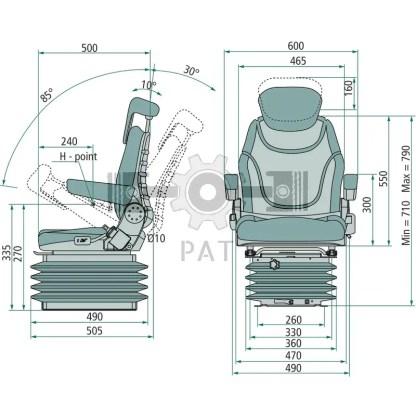 — 240920011 — ● schaarvering met hydraulische schokdemper, ● gewichtsinstelling van 50 tot 130 kg , ● veerweg 100 —