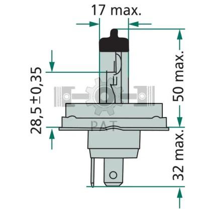 — 44712475C1 — koplamp,  vervangt 12V 45/40W kogellamp P 45t - 4I —