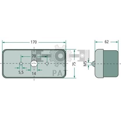 — 4552SD 002582021 — achter,- rem,- knipperlicht, voor horizontale aanbouw, rode achter- en remlicht, knipperlicht oranje —