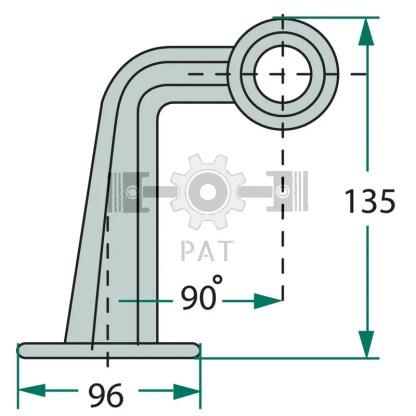 — 507611067 — links en rechts, LED 12 of 24 volt, midden uitvoering / rubber / 90°, wit / rood 12V / 24V-LED —