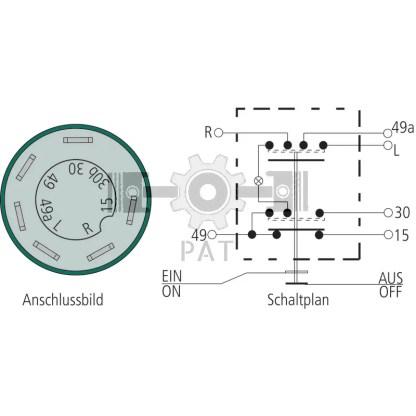 — 50718008 — 6 aansluitingen 6,3 mm, belasting max.: 30 + 49a = 210 W, 15, 49, R, L = 100 W, glassokkellamp 12V / —