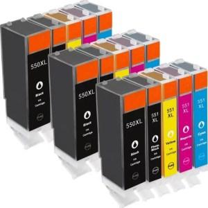 Inktcartridge / Alternatief spaarset 15 patronen Canon PGI-550 CLI551 | Canon Pixma IP7250/ IP8750/ MG5400/ MG5450/ MG5550/ MG5650/ MG6350/ MG6450/ MG