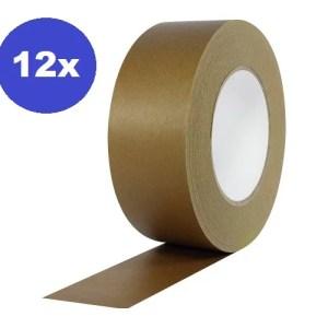 12 x Ecologische Kraft Tape 48 mm x 50 meter | papieren plakband | Ecotape | Paper tape | verpakkingsplakband paper