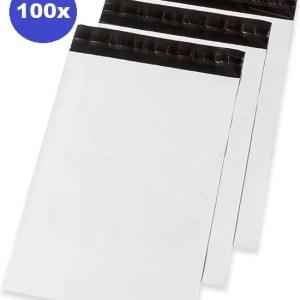 100 x Verzendzakken plastic - kleding - webshop 175 x 255 x 50 mm (70% gerycicleerde film)