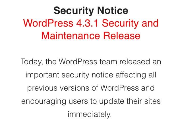 websideview wordpress security update 4.3.1
