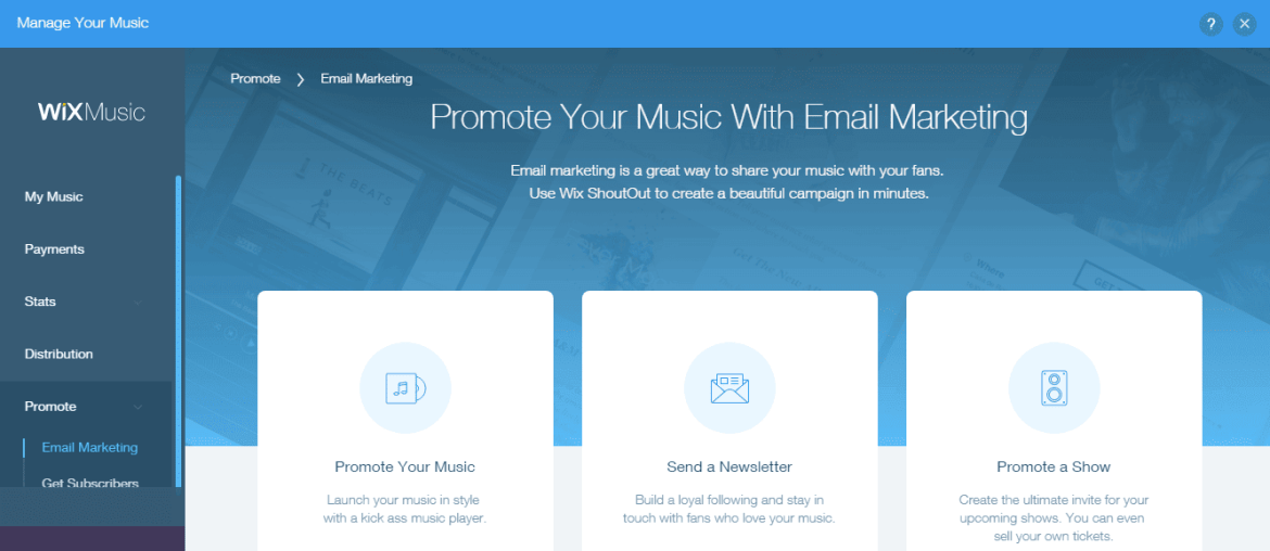 Wix Music promotion get more subscribers using email marketing tools