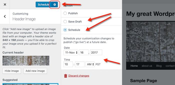 screenshot of WordPress 4.9 scheduling design changes