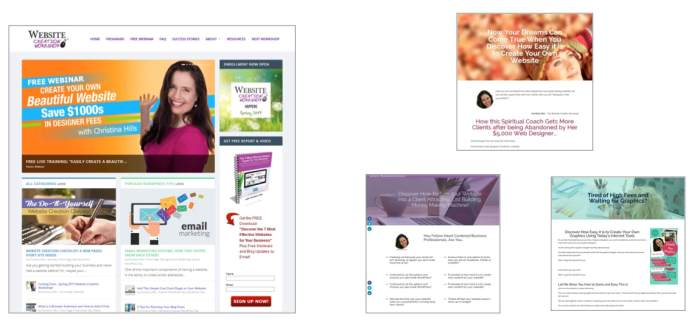 screenshot of a mail website and 3 sales letter sites