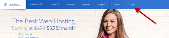 how to open a bluehost website hosting account - login