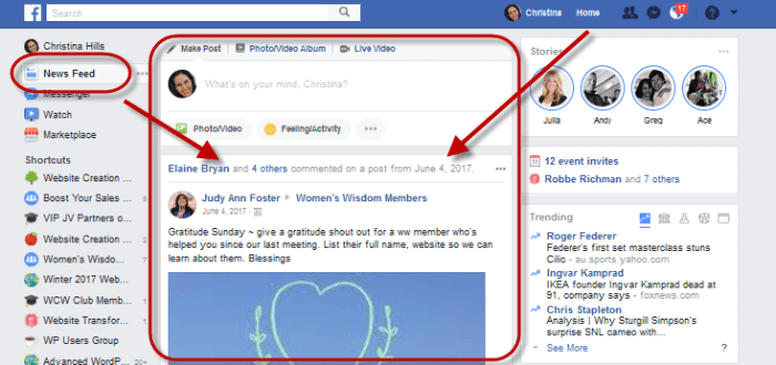 Facebook News Feed example screenshot wide view