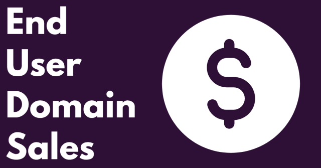 """Graphic with purple background and a dollar sign with the words """"end user domain sales"""""""