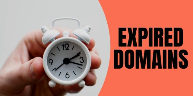"""Picture of clock with words """"expired domains"""""""