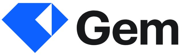 """Logo for Gem shows a blue diamond and the word """"Gem"""" in black letters"""
