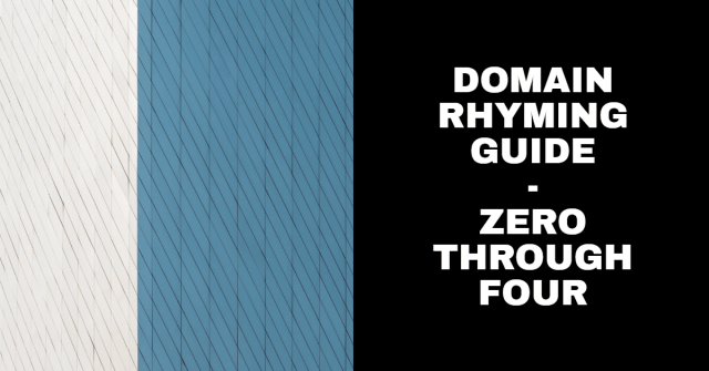 """A graphic with white and blue backgrounds and the words """"domain rhyming guide zero through four"""""""