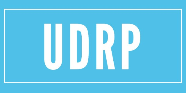 Blue image with the letters UDRP