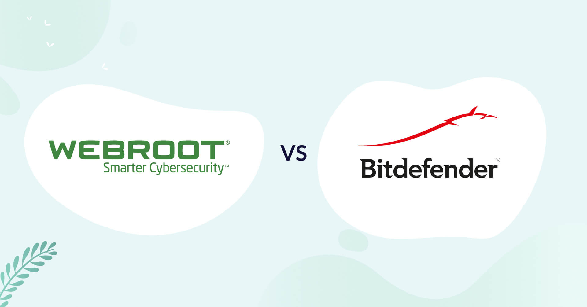 webroot logo vs bitdefender logo antivirus comparison header for how to choose article
