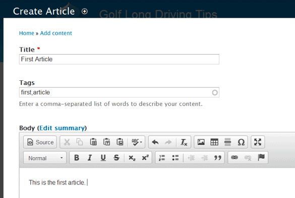 Create an article on Drupal