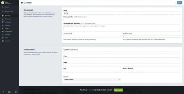 general shopify settings
