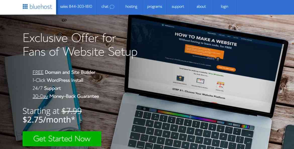 Bluehost homepage. How to create a website with blue host