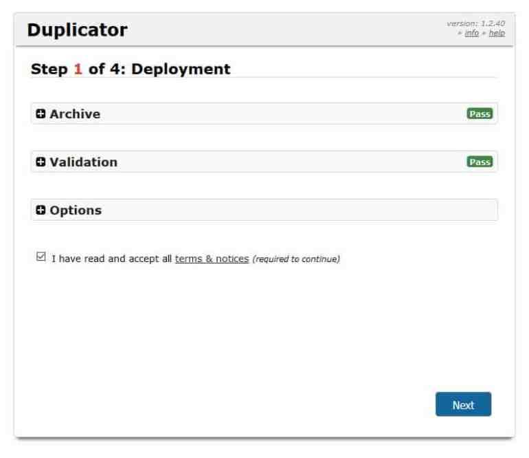 duplicator deployment step 1