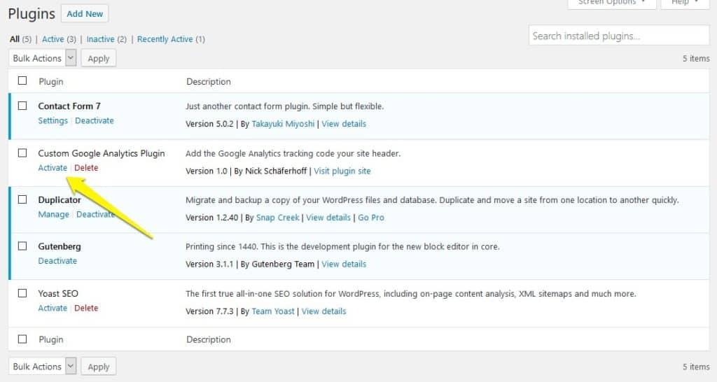 Activate Custom WordPress plugin for Google Analytics tracking code
