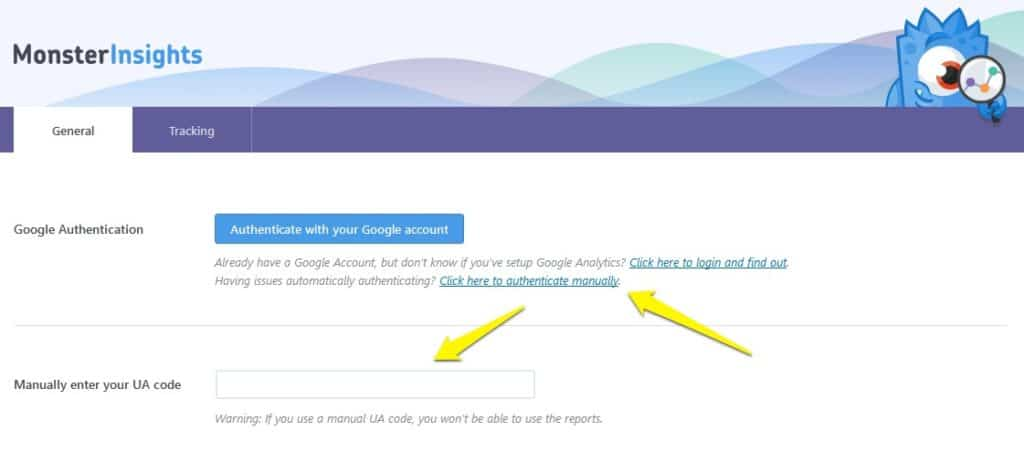 Manually enter Google Analytics tracking ID into WordPress
