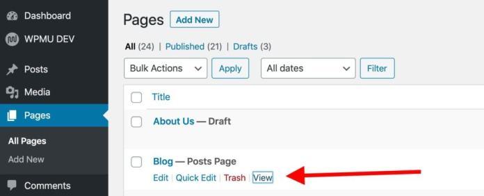 blog page listing