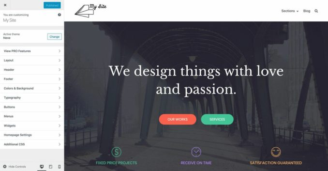 How to create a website: customizer