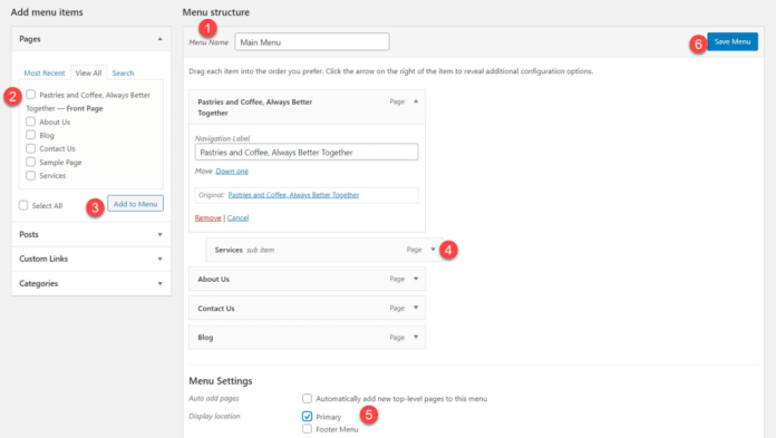 WordPress Menu Creation Process