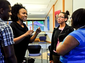 Toni Blackman instructs students during her spoken word workshop I Rhyme Like a Girl on March 28. PHOTO BY VICTORIA DICKSON