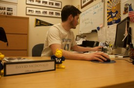 Clerical Assistant David McDonald works in the Student Affairs Office add. He will use the My Webster to clock his work hours.  PHOTO BY MEGAN FAVIGNANO