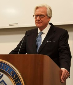 """Bob Dotson, host of """"American Story"""" spoke in the East Academic Building on Wednesday, Oct. 1 about his experiences traveling to tell the stories of ordinary Americans. / photo by Matt Duchesne"""