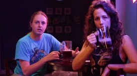Scott Pinkston (left) and Katie Ploesser (right) in a still from their Kickstarter campaign video.