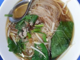 It is common to have a choice of noodles and meat when ordering food. / photo by Maxine du Maine