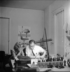 Arch architect Eero Saarinen and his wife Aline, a former art critic, work on a project. CONTRIBUTED PHOTO