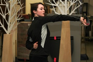 Actor Caroline Amos practices stage combat choreography as she prepares to play the role of Hamlet for the Shakespeare Festival St. Louis Education Tour. Amos graduated from Webster's Conservatory of Theatre Arts in May 2015. SARA BANNOURA / The Journal