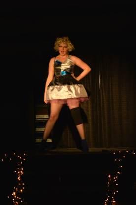 Sophomore Elizabeth Swanson takes the stage as her personality, Vicki Mirage. TIFFANY GORDON / The Journal