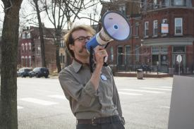 Webster student Wes Schnitker rallies for Bernie Sanders March 6 at the People's March for Bernie on Cherokee Street. He was arrested for protesting Friday at the St. Louis Donald Trump rally at the Peabody Opera House. JULIA PESCHEL | The Journal