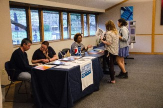 The American Civil Liberties Union and ReproAction share opportunities with students at the WGST Open House.