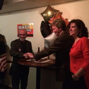 "Sebastian ""Bud"" Bellomo and Matt Armstrong celebrating their win March 5. JESSICA KARINS   The Journal"