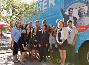 Price (second from right) and other College Democrats attended a lunch with Rev. Jesse Jackson Oct. 9 / Photo courtesy of Megan Price