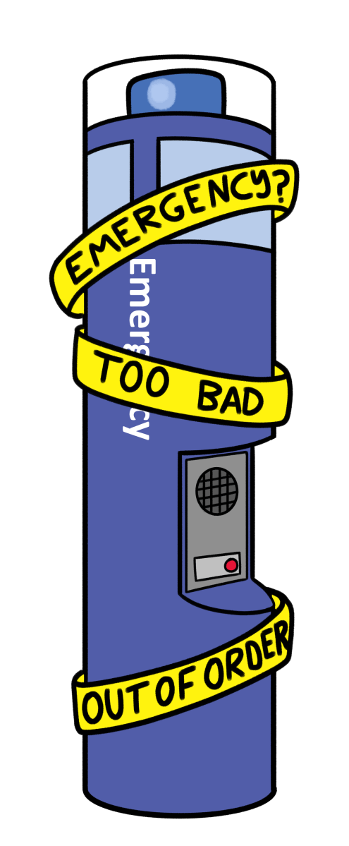 Emergency call box unrepaired for months