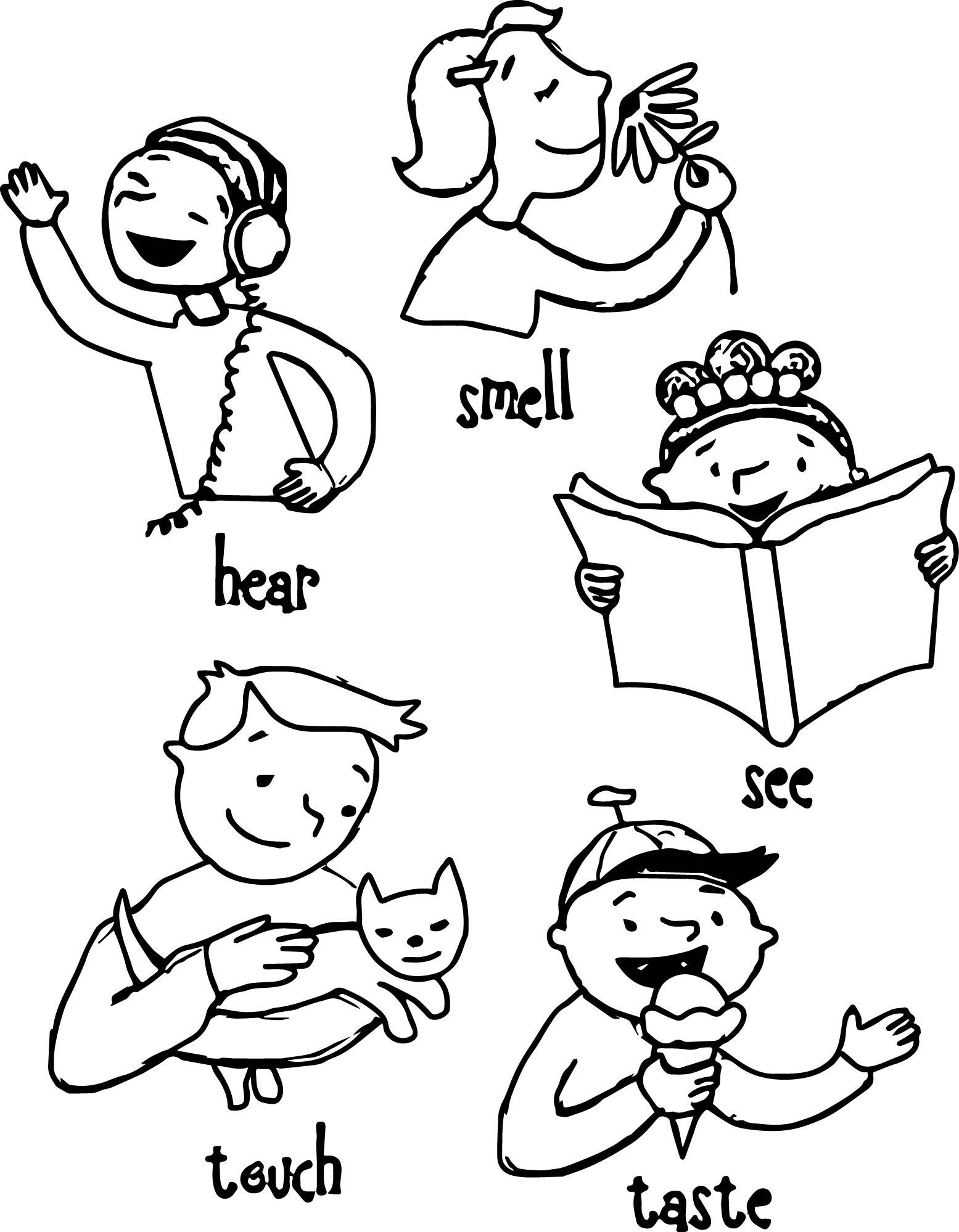 5 Senses Clipart Coloring Page 5 Senses Coloring Page
