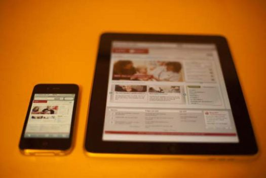 Iphone and Ipad with a responsive website