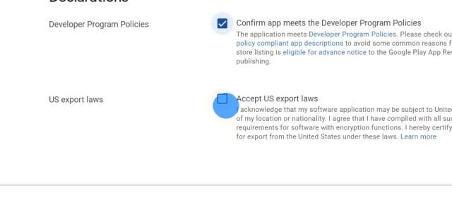 Klicke die Kästchen an, um den Richtlinien des Entwicklerprogramms und den US-Exportgesetzen zuzustimmen.