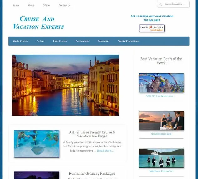 Best Web Design For Vacation Leisure Websites Front Page Design