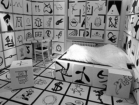 Hotel Room with Crazy Symbols
