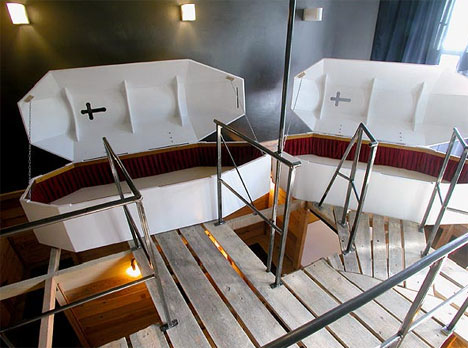 Vampire Hotel Room with Coffins