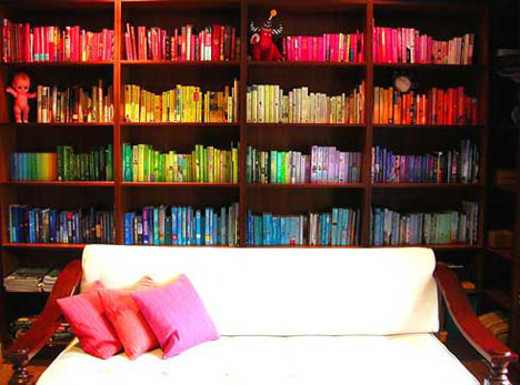Colour coded bookshelf display