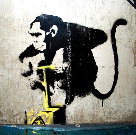 guerrilla art banksy chimp detonator